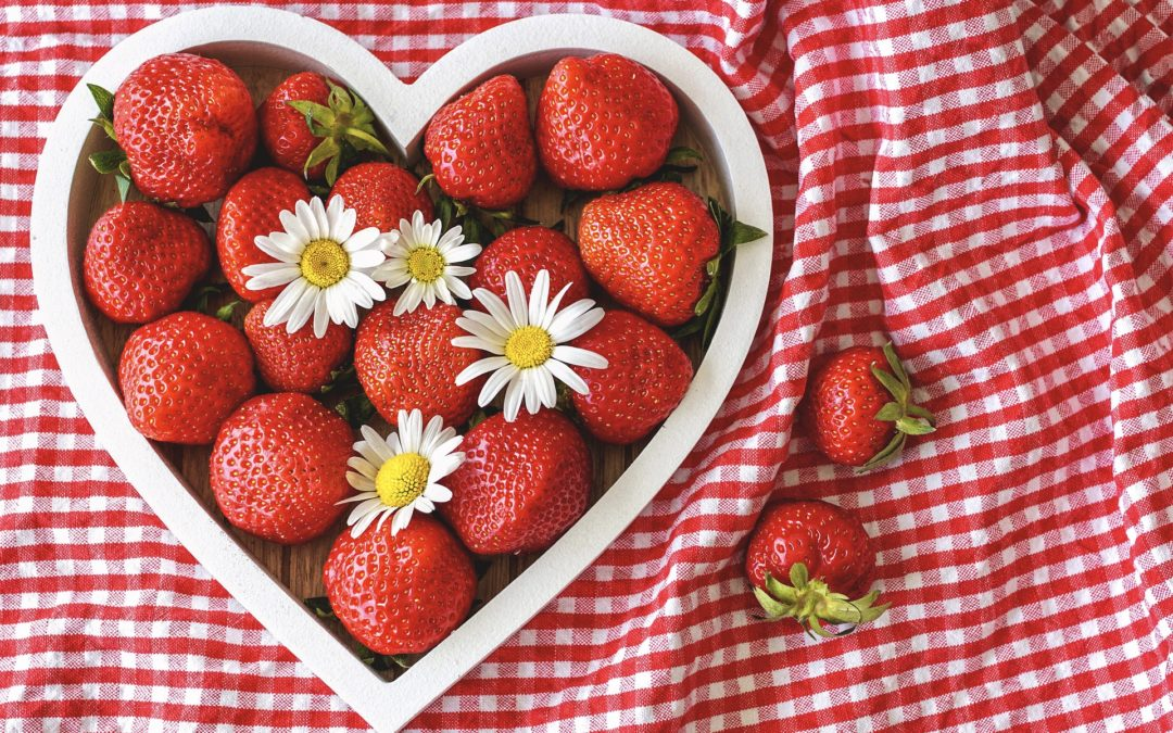 strawberries in a heart box
